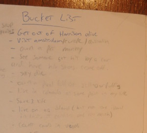 Andrews Bucket List Closeup