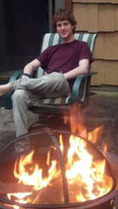 The last picture of Andrew at home, sitting by his new fire pit.