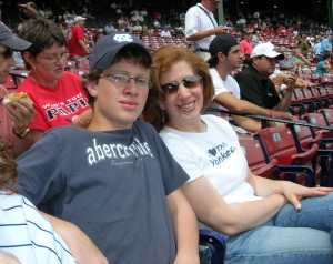 Andrew & Mom at a Red Sox game